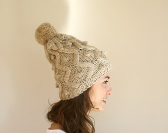 Beige Knit Wool Hat Beanie Valentine's Day Gift For Her / Mum Gift / Wife Gift