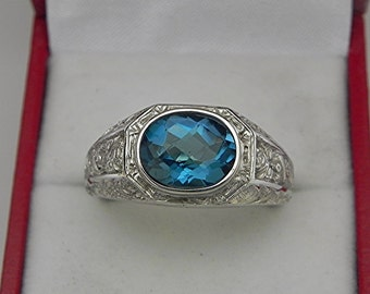 AAAA London Blue Topaz 10x8mm Checkerboard cut 3.02 Carats Heavy 14K White gold Antique Vintage  styled MAN'S ring 15 grams. 2301(2)