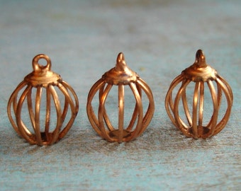 12 Vintage Copper Bird Cage or Bead Cages