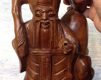 Vintage Carved Wooden Happy Buddha
