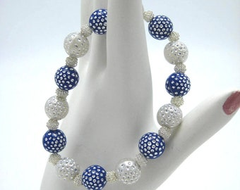 Beaded Stretch Bracelet with Navy Blue and White Sparkle Beads with silver wrapped filler Beads