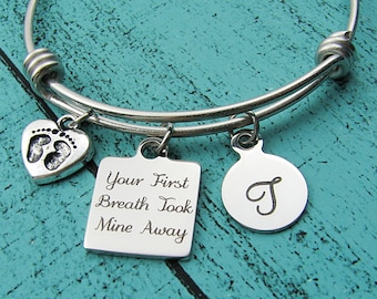 new Mom gift, baby shower gift, Mother's Day gift, for daughter birthday, Mommy jewelry, Mother to be gift, your first breath took mine away