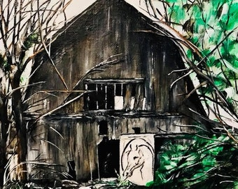 Crystal Stables - Orignal Art Print - Barn-Farmhouse-Cabin-Primitive Art