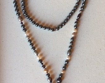 Mixed Pearl and Tassel Necklace