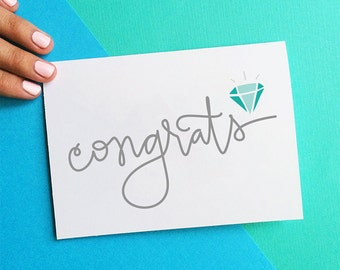 congrats congratulations card engagement card diamond ring gem just engaged wedding gift card newly engaged couple card for bride fiancee
