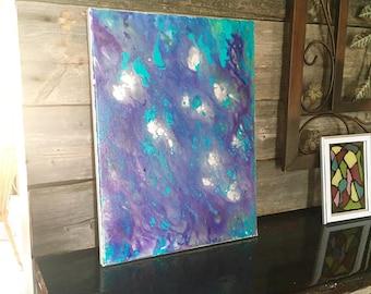 Fluid abstract painting, original art, blue, purple, fluid art