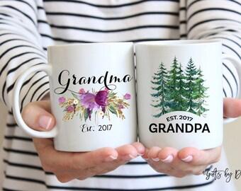 Grandma Grandpa mug set coffee mug, grandma gift, grandpa gift, grandparent gift, established mug, baby announcement pregnancy mug m-112-119