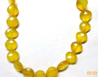 """AAA 11-12MM 8"""" Strand Yellow Chalcedony Faceted Heart Briolette-Yellow Chalcedony Faceted Heart Briolette"""