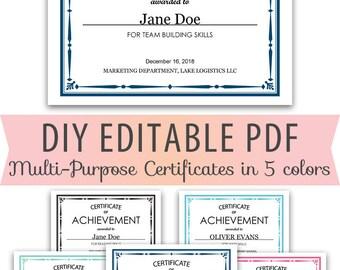 Editable PDF Kids Children Student Teacher Classroom Business General Multi purpose Certificate Award  Letter Size Template 5 colors