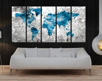 Large Push pin world map canvas print, travel world map, extra large canvas print, blue grey world map art, abstract wall art No:7s76