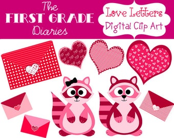 Love Letters Valentines Day Digital Clip Art Hearts Raccoons --Buy 2, Get 1 FREE