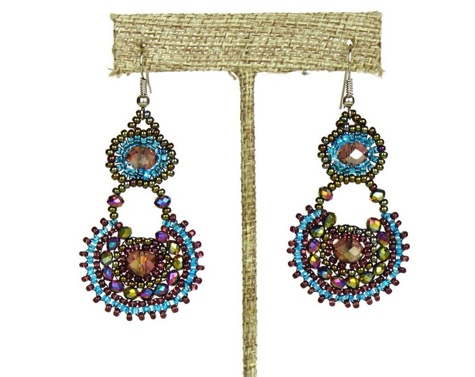 Hand beaded earrings  purple turquoise desert sunset crystalicious #106