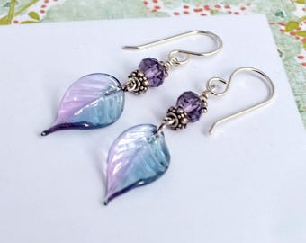 Just Before Dawn, Earrings in Glass, Amethyst, and Sterling Silver