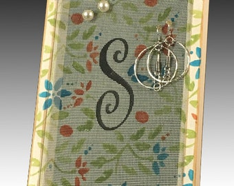 Monogram Earring Holder for Pierced Earrings. Shabby Chic Wood Frame Jewelry Organizer on Hand Painted Screen. Jacobean Design. Gift Idea!