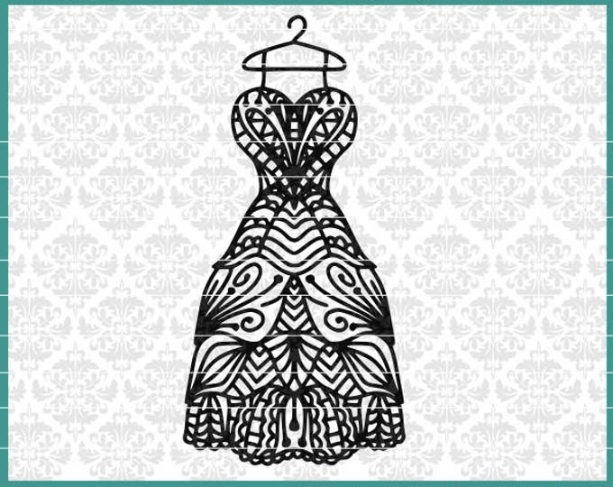 CLN0458 Dress Wedding Bridal Dressing Room Zentangle Mandala SVG Dxf Ai Eps PNG Instant Download Commercial Cut File Cricut SIlhouette