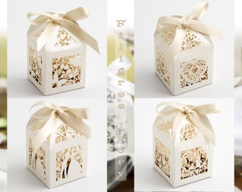 Favor box etsy ivory filigree gift box laser cut favor box ivory favor box rustic candy box rustic wedding elegant wedding favor wedding table decor junglespirit Gallery