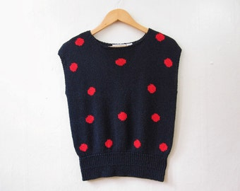 Navy and Red Polka Dot Sweater / Sleeveless / S Small / 80s