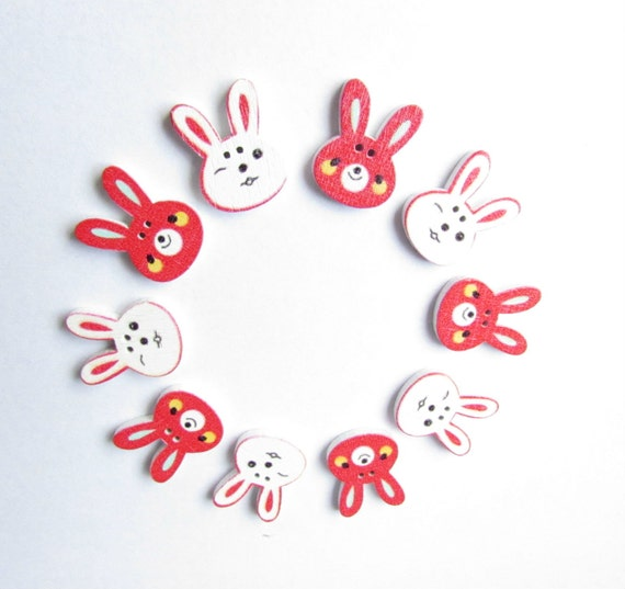 10 Red and White Easter bunny buttons - Craft bunny buttons - Bunny rabbit buttons - Scrapbooking embellishments - Easter bunnies. UK Seller