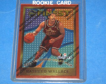 Vintage 1995-96 Topps Finest Rasheed Wallace RC. #114 Ex-Nm Condition.