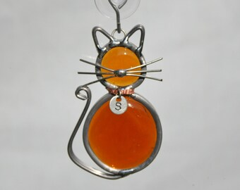 Stained Glass Cat Ornament with Personalized Collar