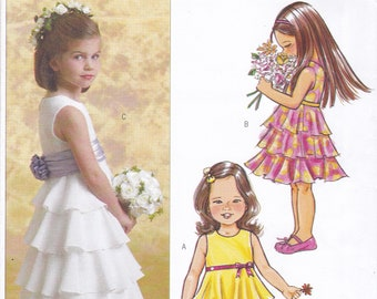 FREE US SHIP Butterick 4967 Sewing Pattern Flower Girl Dress Floor length Tiered Rufflers Size 6 7 8 New Uncut