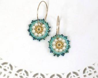Turquoise hoop earrings, Gifts for daughter, Sweet 16 jewelry, Beaded hoop earring, Teen girl gifts, Everyday earrings, 19 mm hoop