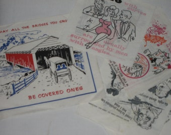Lot of vintage paper napkins risqué humor cartoons drinking jokes collage crafts