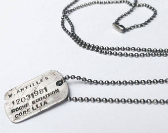 Sterling Silver Personalised Rebel Alliance Star Wars Dog Tag Necklace
