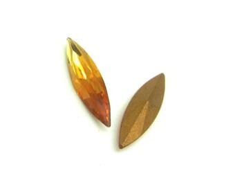Lot 2 faceted Navettes Swarovski Vintage Topaz Crystal - 15 * 4 mm