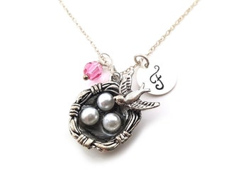 Bird's Nest Necklace - Initial Necklace - Personalized Necklace - Sterling Silver Jewelry - Gift for Her