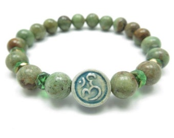 Mala Bracelet,Namaste,Om,Yoga Jewelry,Bohemian,Green Opal,Meditation,Healing,Wrist Mala,Ohm,Zen,Buddhist,Birthday,Unique,Yoga Teacher Gift