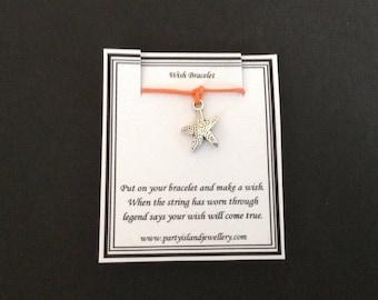 STARFISH Orange Friendship Bracelet on Wish Message Card