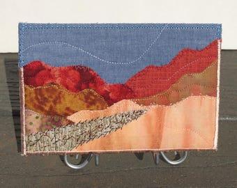 Fall Mountain Landscape - Quilt Art - Home Decor - Hike Landscape - Hostess Gift - Fabric Postcard - Autumn Art - Gift for Her - Mini Quilt