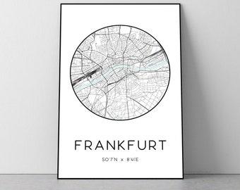 Frankfurt City Map Print   Frankfurt poster, Frankfurt map art, Frankfurt wall art print, Frankfurt gift, Frankfurt map print