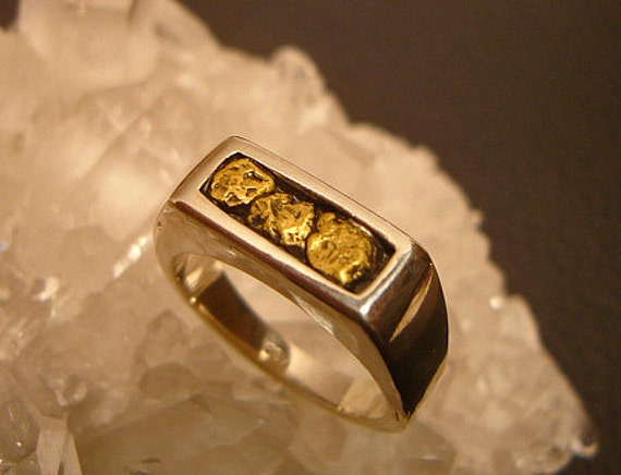 Gold Nug Ring Mens Gold Nug Ring Gift for Husband 14k