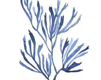 ORIGINAL Blue Seaweed water-colour painting