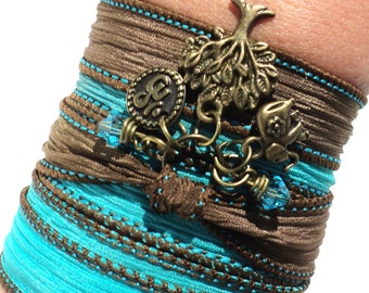 Silk Wrap Bracelet Yoga Jewelry Ganesha Tree of Life Om Elephant Bohemian Upper Arm Band Bat Mitzvah Unique Gift For Her Under 50 Item Z15