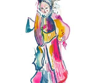 "Surreal Original Watercolor Fashion Painting, Contemporary Modern Figure Artwork 6"" x 6"" - 403"
