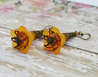 SALE- Orange Bell Flower Earrings, Vintage Inspired Blue Lucite Flower Earrings