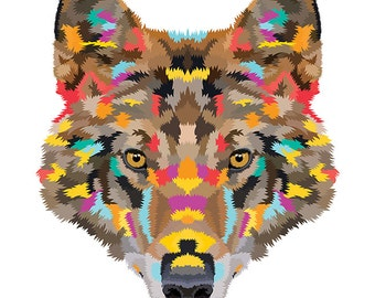 Wolf. Cross Stitch pattern, Digital Download PDF. Geometric wolf face design with beautiful colorful patches in his fur. Bright and Modern