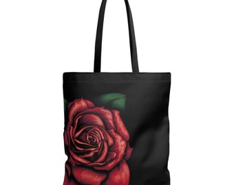 Red Rose - digital painting printed on bag fabric shoulder bag red and black - red rose painting - red flower - free shipping