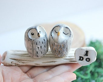 Owl Wedding Cake Topper - Owl cake topper - Clay Owls Cake Topper - Rustic Wedding - Woodland Wedding - Snow Owls cake topper