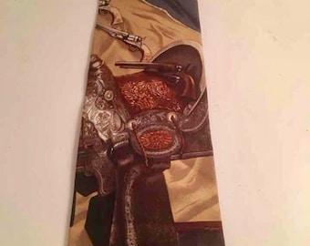 Polo Vintage Western Saddle Tie Silk Cowboy Fathers Day