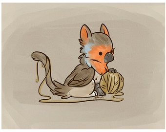 European robin griffin with ball of yarn - Art print - Fantasy illustration