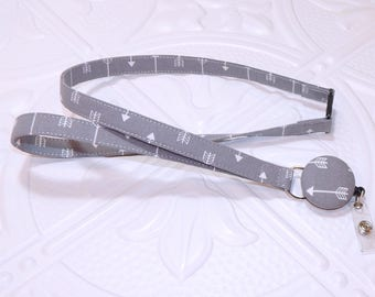Gray Arrow Breakaway Safety Lanyard With Retractable Id Badge Holder - Teacher Lanyard