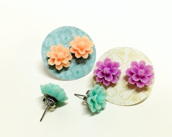 NEW - surgical steel post- stud earrings - Resin Flowers- cute, sweet and fun - great for all ages