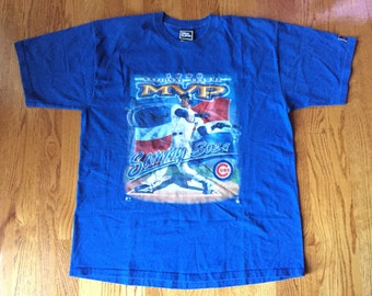 VTG 1998 Sammy Sosa NL MVP Pro Player Shirt Chicago Cubs World Series Kris Bryant Anthony Rizzo Ryne Sandberg baseball bat jake arrieta mlb