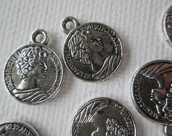 Coin Charms, 10 pcs Silver Toned Coin Charms, Metal Coin Charms, 15mm, Australia Coins,  Jewelry Findings, Zardenia
