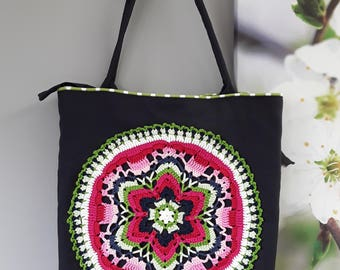Dark blue Shopper with crochet Mandala (canvas cotton)