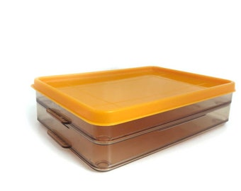Vintage Cold Cuts Storage Containers. Vendex. Stackable Plastic Deli Meat Refrigerator Boxes in Brown Orange. Kitchen Organization.
